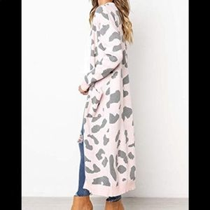 Angashion pink leopard print cardigan